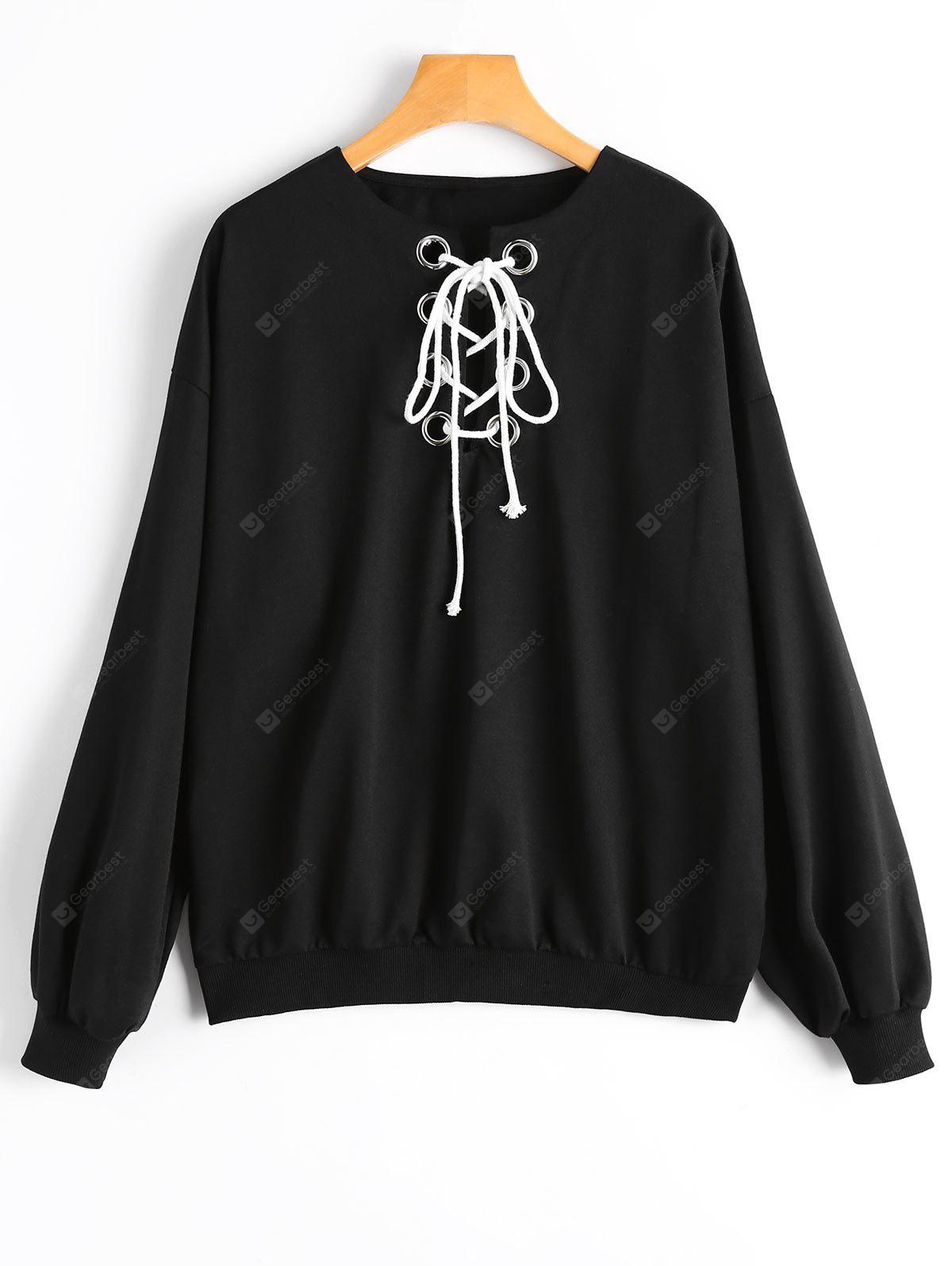 Round Collar Plain Lace Up Sweatshirt