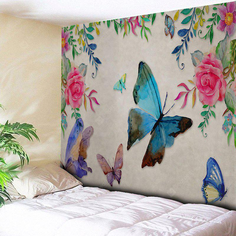 GRAY Butterfly Flower Wall Hanging Tapestry