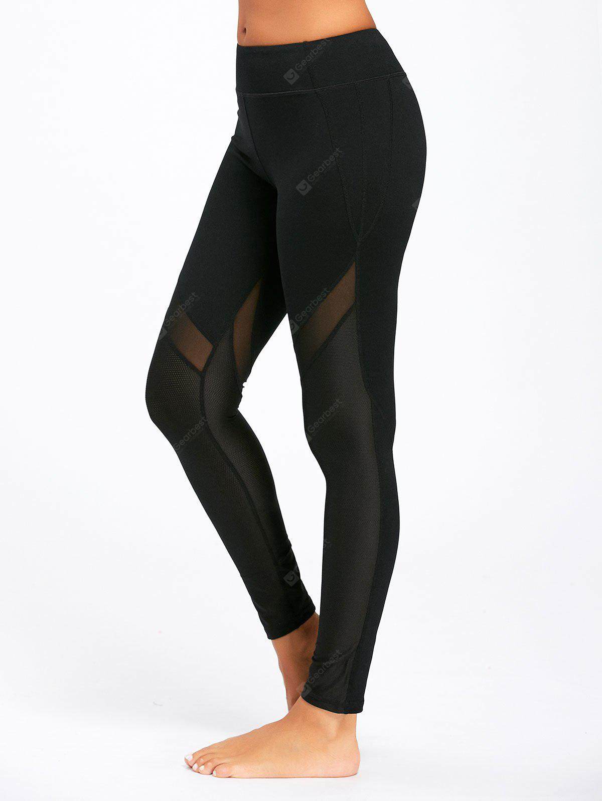 Midi Rise Sheer Mesh Panel Sport Leggings