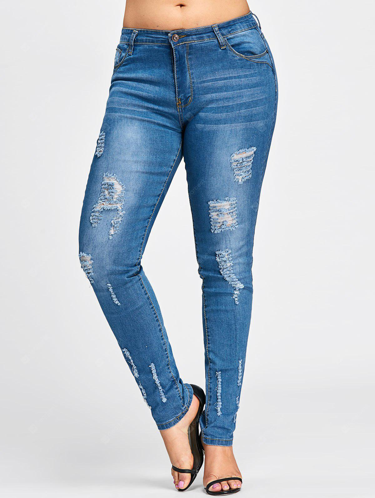 Plus Size Beach Destroyed Wash Jeans