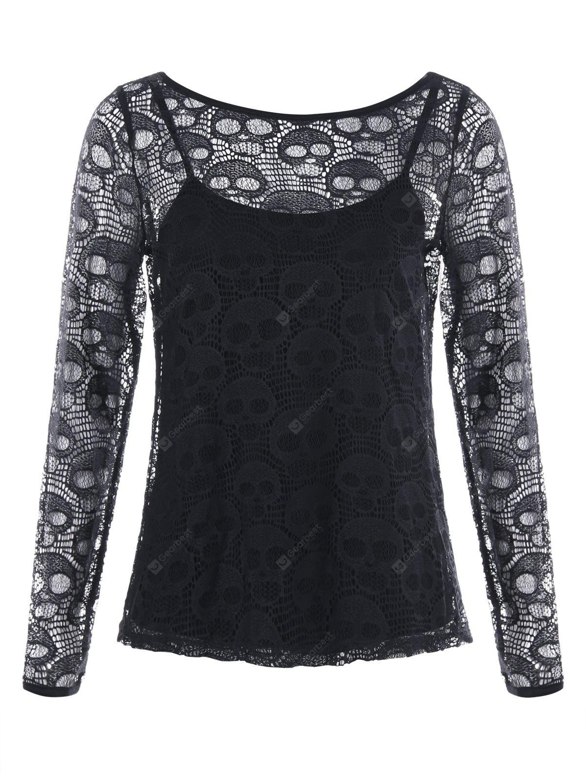 Halloween Hollow Out Schädel Bluse mit Cami Top