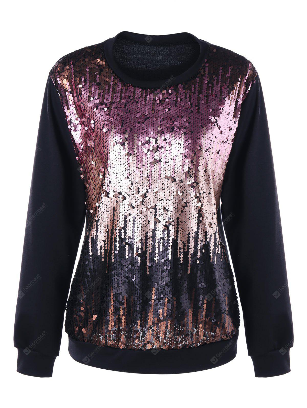 Plus Size Ombre Pailletten-Sweatshirt