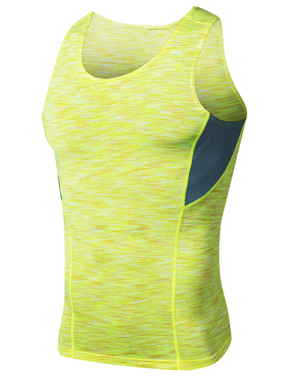 Crew Neck Quick Dry Openwork Panel Fitted Fitness Vest