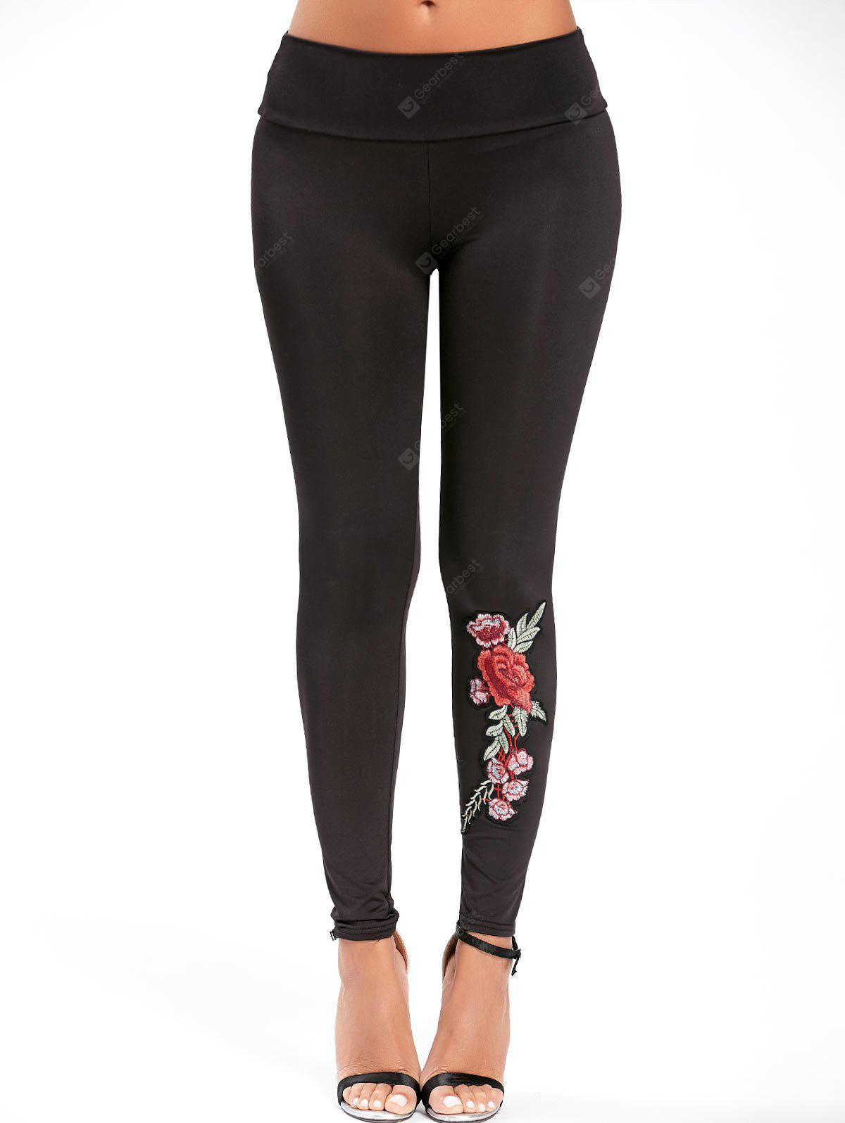 Embroidered High Waisted Leggings