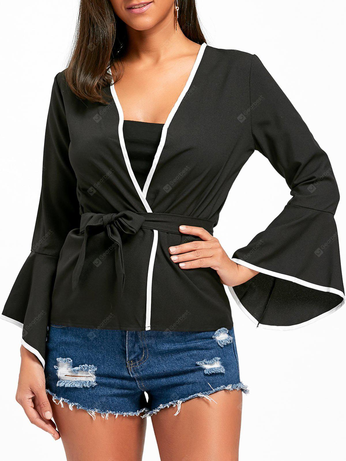 Flare Sleeve Surplice Neck Belt Blouse
