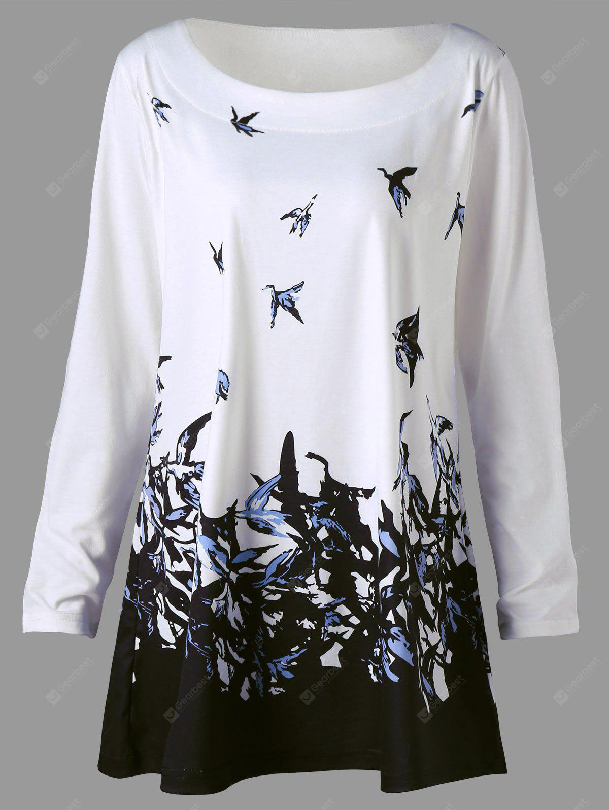 Plus Size Bird Print Long Sleeve T-shirt