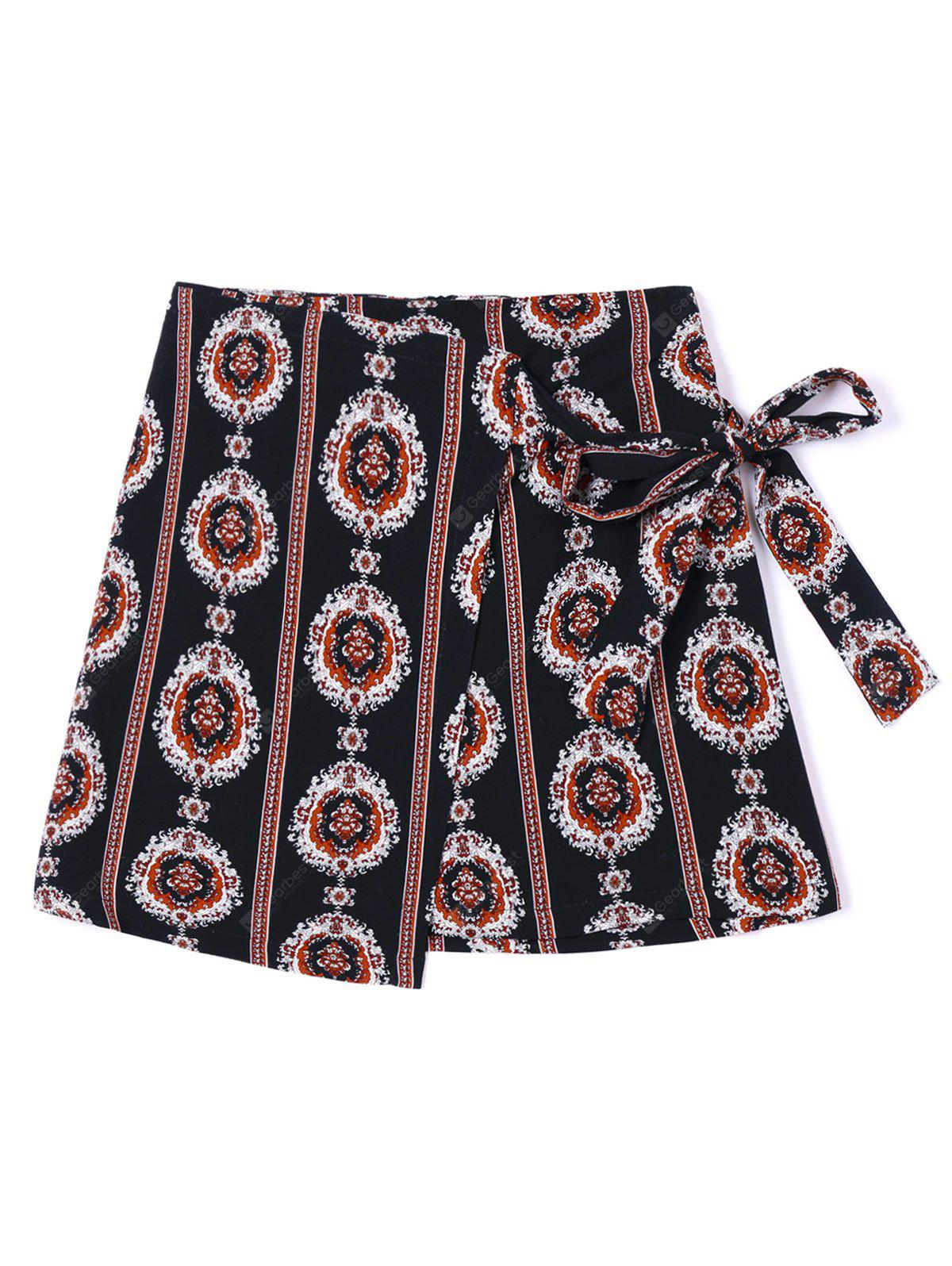 Tribal Print Asymmetric Wrap Rock