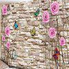 Brick Wall Art Butterfly Flower Print Tapestry - COLORMIX