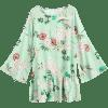 Flower Print Flare Sleeve Mini Dress - LIGHT GREEN