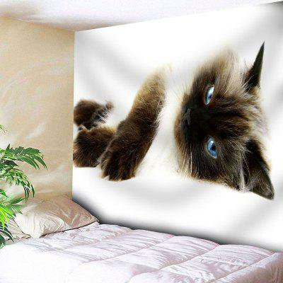 Buy WHITE Animal Wall Decor Cat Print Tapestry for $22.23 in GearBest store
