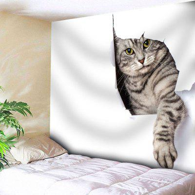 Buy WHITE Cat Print Wall Hanging Animal Tapestry for $20.22 in GearBest store
