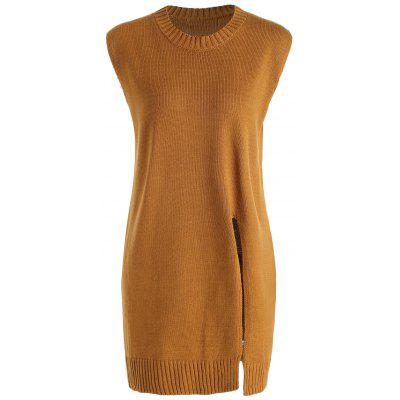 Plus Size Front Slit Long Sleeveless Sweater