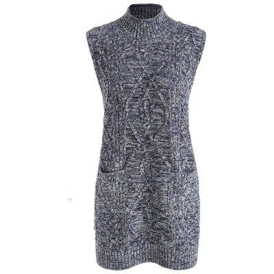 Plus Size Cable Knit Sleeveless Slit Sweater