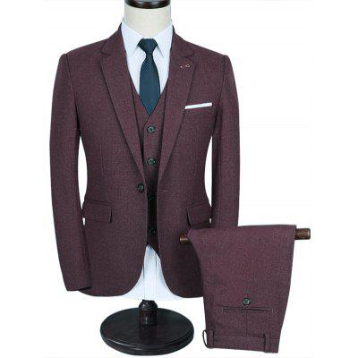 Contrast Chest Pocket Wedding 3 Piece Suit