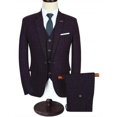 One Button Plaid Three Piece Suit