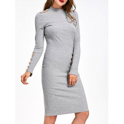Ribbed Button Embellished Long Sleeve Bodycon Dress