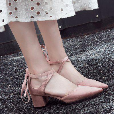 Two Pieces Ankle Strap Pointed Toe PumpsWomens Pumps<br>Two Pieces Ankle Strap Pointed Toe Pumps<br><br>Heel Height: 5CM<br>Heel Height Range: Med(1.75-2.75)<br>Heel Type: Chunky Heel<br>Occasion: Casual<br>Package Contents: 1 x Pumps (pair)<br>Pumps Type: Ankle Strap<br>Season: Spring/Fall<br>Shoe Width: Medium(B/M)<br>Toe Shape: Pointed Toe<br>Toe Style: Closed Toe<br>Upper Material: Suede<br>Weight: 1.2000kg