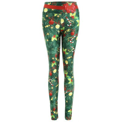 Wide Waistband Christmas Tree Print Fitted Leggings