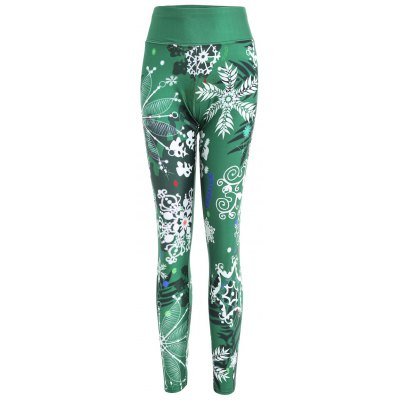 Snowflake and Plant Print Christmas Fitted Leggings