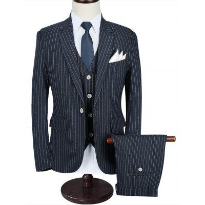 Morden Fit Stripe Three Piece Business Suit
