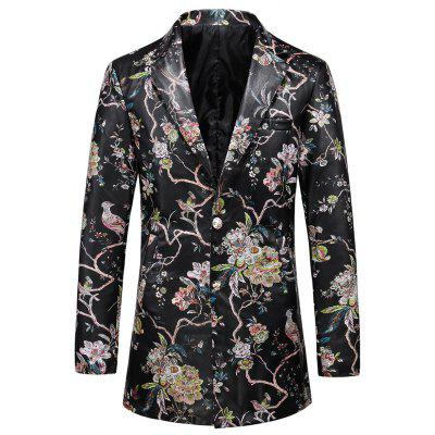 Single Breasted Faux Leather Floral Blazer