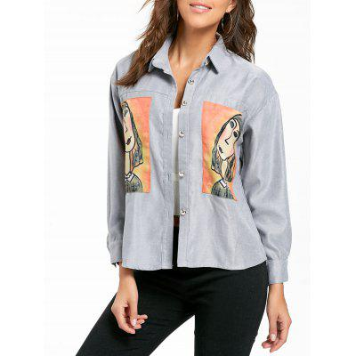 High Low Character Patch Shirt