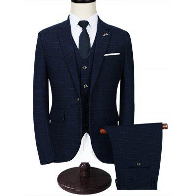 Notch Lapel Checked 3 Piece Business Suit