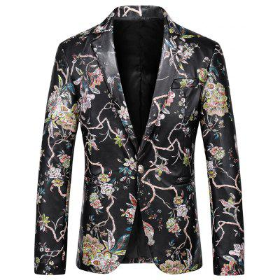 One Button Faux Leather Floral Blazer