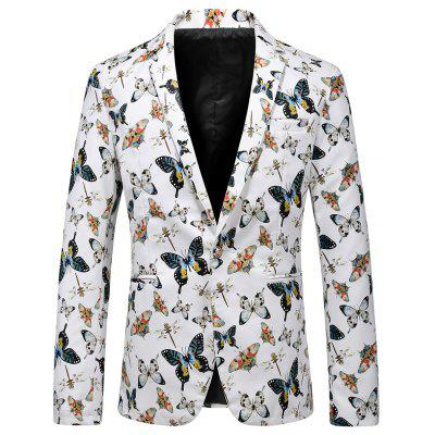 One Button Butterfly Print Faux Leather Blazer