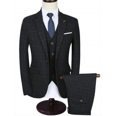 Slim Contrast Pocket Three Piece Business Suit