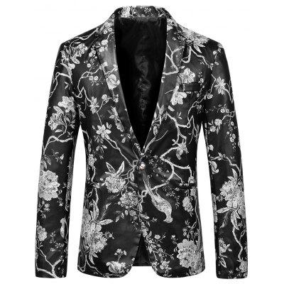 One Button Floral Print Faux Leather Blazer