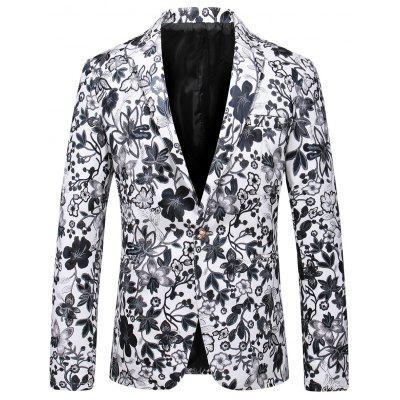 Lapel One Button Faux Leather Floral Blazer