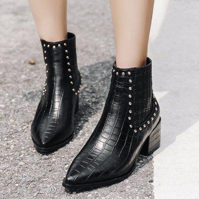 Rivets Pointed Toe Stone Pattern BootsWomens Boots<br>Rivets Pointed Toe Stone Pattern Boots<br><br>Boot Height: Ankle<br>Boot Type: Fashion Boots<br>Closure Type: Slip-On<br>Gender: For Women<br>Heel Height: 5.5CM<br>Heel Height Range: Med(1.75-2.75)<br>Heel Type: Chunky Heel<br>Package Contents: 1 x Boots (pair)<br>Pattern Type: Others<br>Season: Spring/Fall<br>Shoe Width: Medium(B/M)<br>Toe Shape: Pointed Toe<br>Upper Material: PU<br>Weight: 1.1200kg