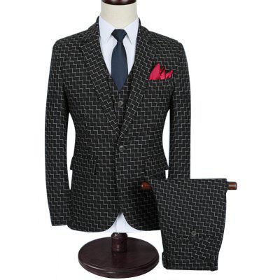 Zigzag Pattern Slim Fit Three Piece Business Suit