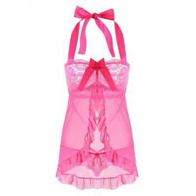 Mesh Split Babydoll with Ruffles