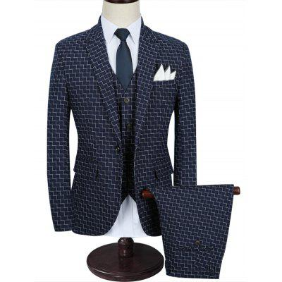 Zigzag Pattern One Button 3 Piece Business Suit