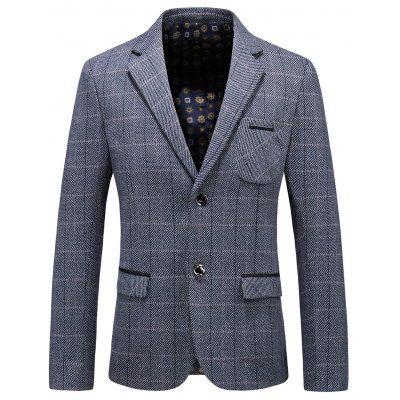 Single Breasted Chest Pocket Check Blazer