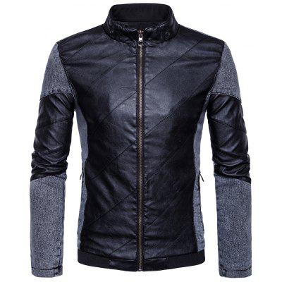 Buy BLACK XL Stand Collar Denim Panel Zip Up PU Leather Jacket for $49.73 in GearBest store