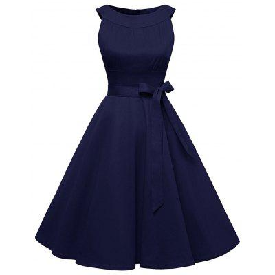 Buy DEEP BLUE 2XL Vintage Belted Pin Up Swing Dress for $29.88 in GearBest store