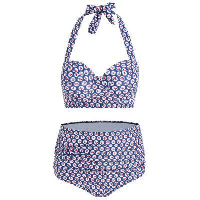 Buy COLORMIX XL Floral High Waisted Plus Size Bikini Set for $19.99 in GearBest store