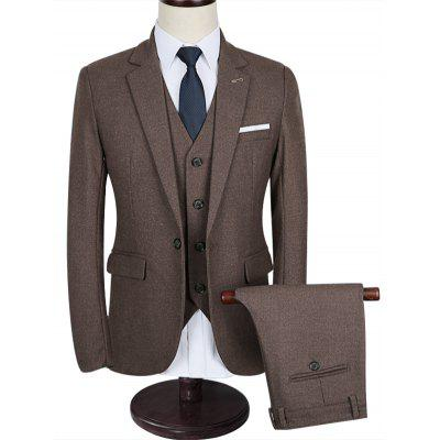 Slim Fit Lapel 3 Piece Business Suit