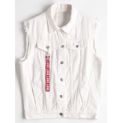 Letter Embroidered Cut Out Waistcoat