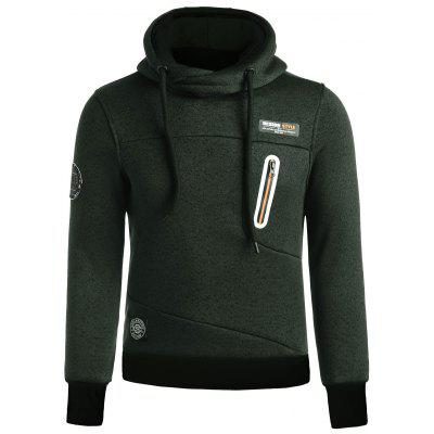 Buy BLACKISH GREEN L Zip Panel Funnel Neck Knitted Hoodie for $31.64 in GearBest store