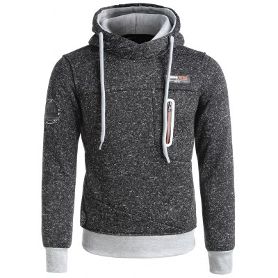 Zip Insert Patches Knit Pullover Hoodie