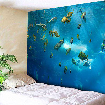 Buy BLUE Sea World Wall Hanging Fish Print Tapestry for $14.10 in GearBest store