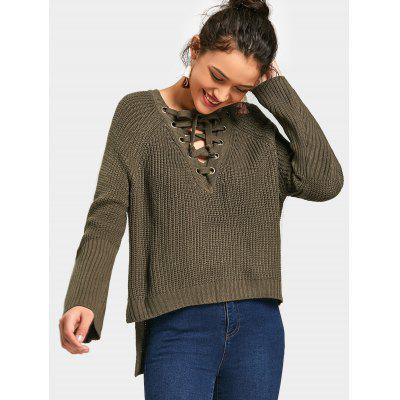 Buy ARMY GREEN Lace Up Side Slit High Low Sweater for $24.58 in GearBest store