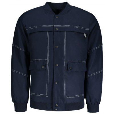 Buy BLUE 3XL Sanp-button Mens Bomber Jacket for $36.80 in GearBest store