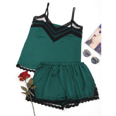 Satin Lace Panel Sleepwear Suit