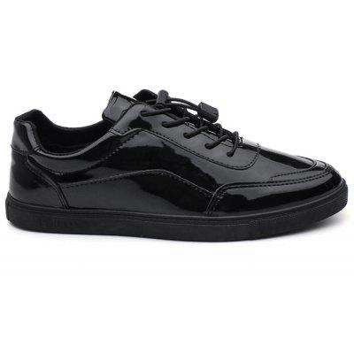 Patent Leather Lace Up Casual Shoes