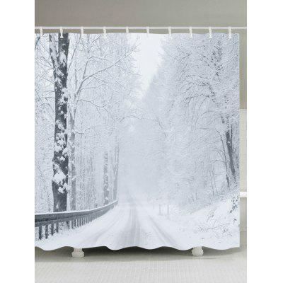 Snow Forest Road Print Fabric Waterproof Shower Curtain